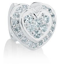 Online Exclusive - Heart Wild Hearts Charm with Cubic Zirconia in Sterling Silver