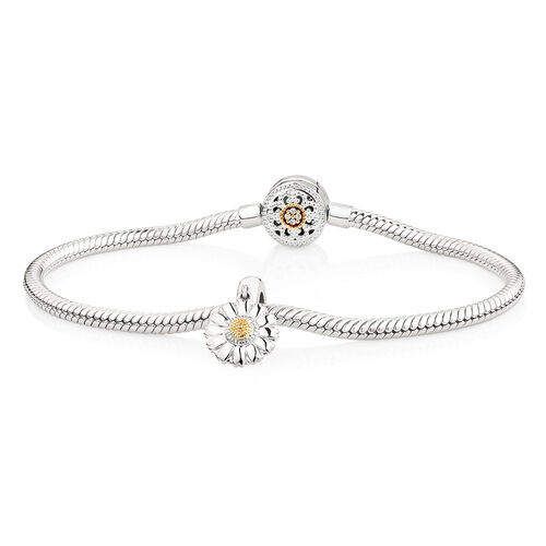 "19cm (7.5"") Charm Bracelet with Flower Charm in 10ct Yellow Gold & Sterling Silver"