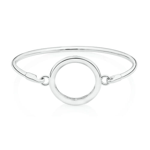 Medium Coin Locket Bangle in Sterling Silver