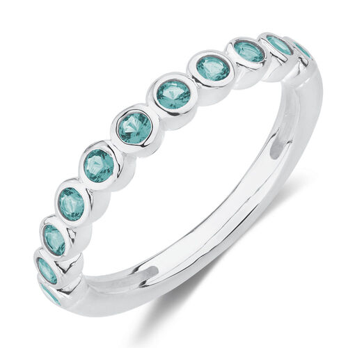 Stacker Ring with Teal Crystal in Sterling Silver