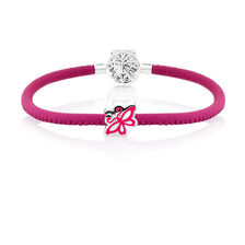 """19cm (7.5"""") Charm Bracelet in Pink Leather & Sterling Silver"""