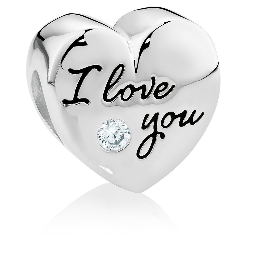 """Love Silvers: Sterling Silver """"I Love You..."""" Heart Charm"""