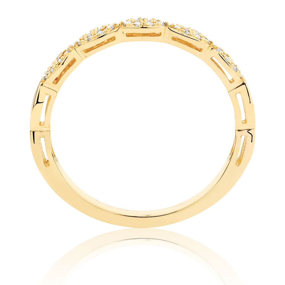 Stacker Bands: Diamond Set Stacker Ring In 10ct Yellow Gold
