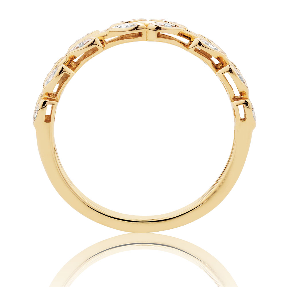 Stacker Bands: Diamond Set Leaf Stacker Ring In 10ct Yellow Gold