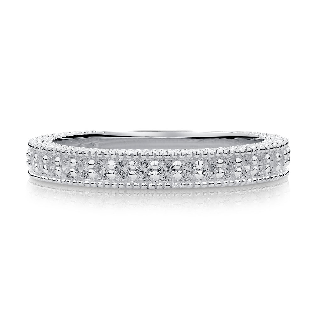 Stacker Bands: Stacker Ring With White Cubic Zirconia In Sterling Silver