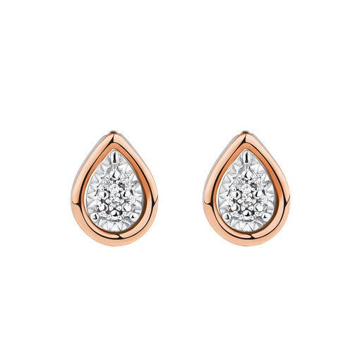 Diamond Set Earring & Enhancer Set in 10ct Rose Gold & Sterling Silver
