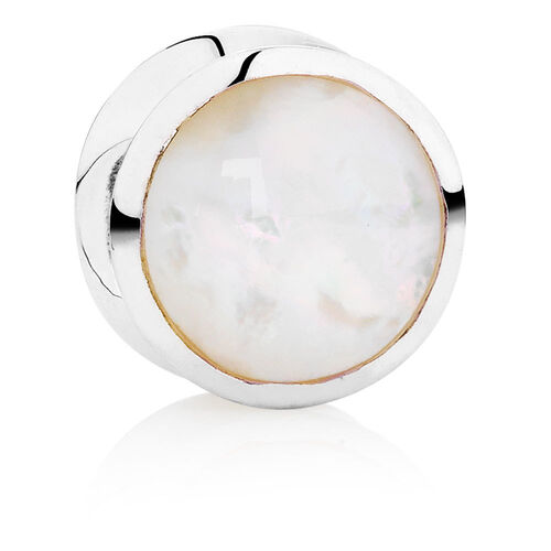 White Mother Of Pearl & Sterling Silver Circle Charm