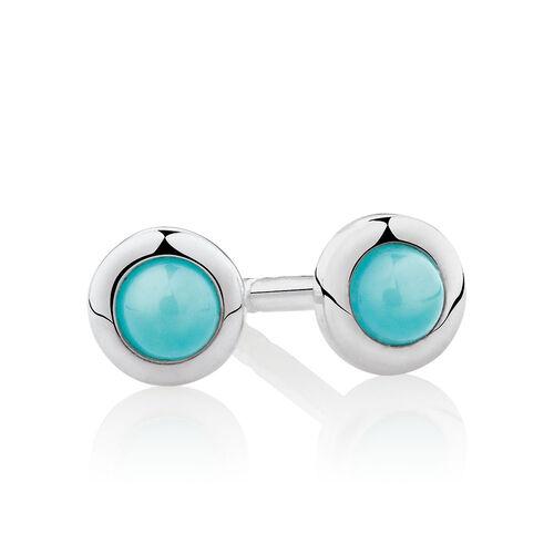Turqoise Stud Earrings in Sterling Silver