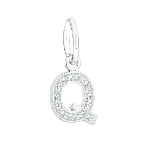"""""""Q"""" Mini Pendant with Cubic Zirconia in Sterling Silver"""