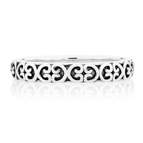 Oxidised Sterling Silver Heart Pattern Stack Ring