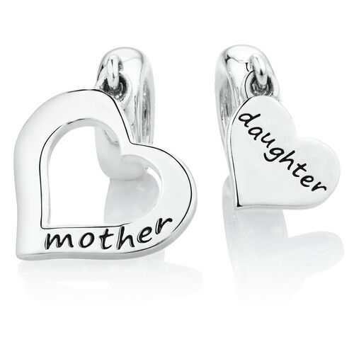 Mother & Daughter Two Piece Dangle Charm Set in Sterling Silver