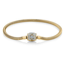 "17cm (7"") Charm Bracelet with 1/4 Carat TW of Diamonds in 10ct Yellow Gold"