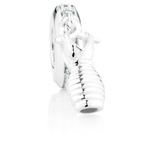 Cubic Zirconia & Sterling Silver Dress Dangle Charm