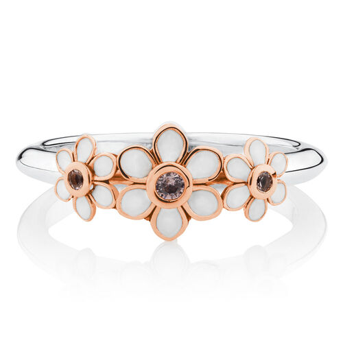 Daisy Stacker Ring with Pink Crystal & White Enamel in 10ct Rose Gold & Sterling Silver