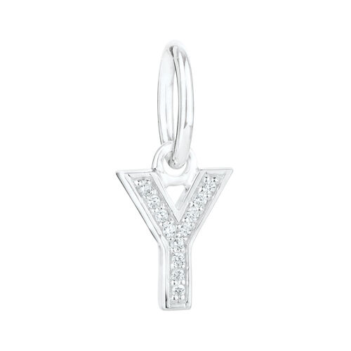 """""""Y"""" Mini Pendant with Cubic Zirconia in Sterling Silver"""