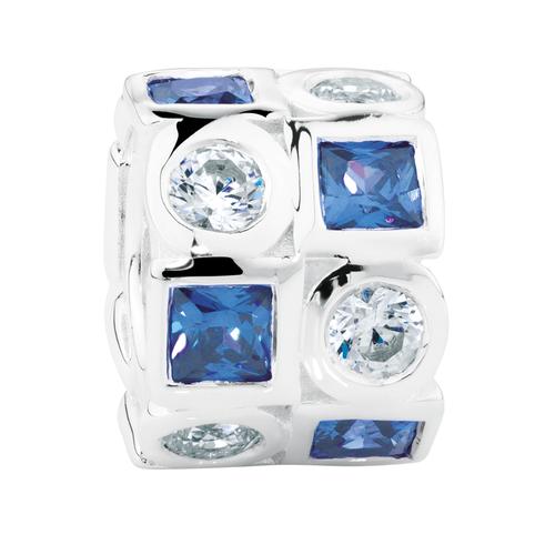 White & Blue Cubic Zirconia Charm