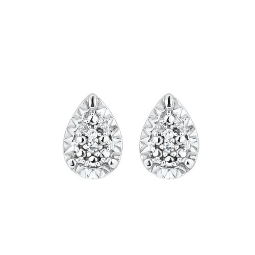 Diamond Set Earring & Enhancer Set in 10ct Yellow Gold & Sterling Silver