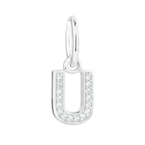 """""""U"""" Mini Pendant with Cubic Zirconia in Sterling Silver"""