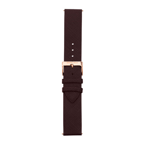 Burgundy Leather Watch Strap with Rose Tone Stainless Steel