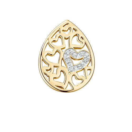 Diamond Set Heart Pattern Mini Coin Locket Insert in 10ct Yellow Gold