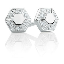 Hexagonal Stud Earrings with Cubic Zirconia in Sterling Silver