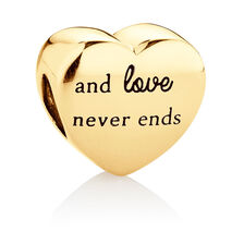 Family Heart Charm in 10ct Yellow Gold