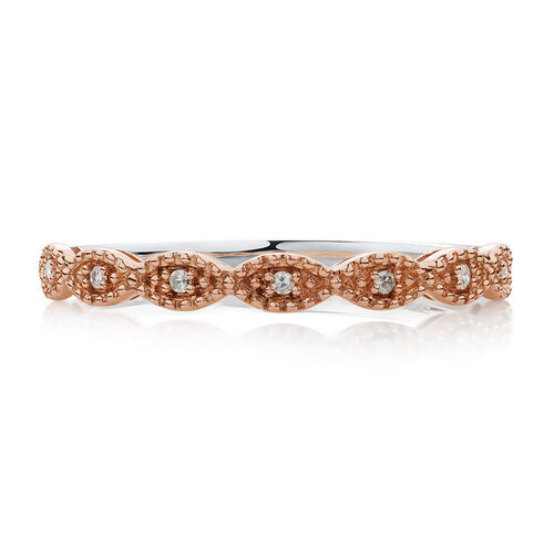 Diamond Set Stacker Ring in 10ct Rose Gold & Sterling Silver