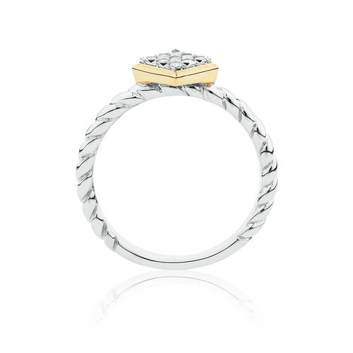 Diamond Set Stacker Ring in Sterling Silver & 10ct Yellow Gold