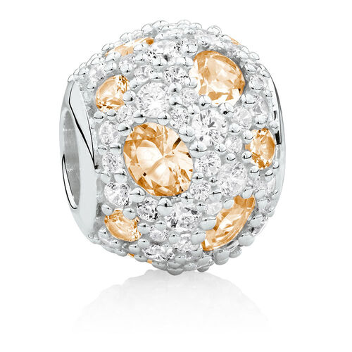 Charm with Apricot Crystal & Cubic Zirconia in Sterling Silver