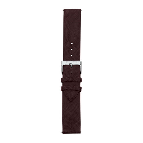 Burgundy Leather Watch Strap with Stainless Steel