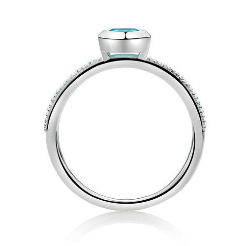 Stacker Ring with Blue Cubic Zirconia in Sterling Silver
