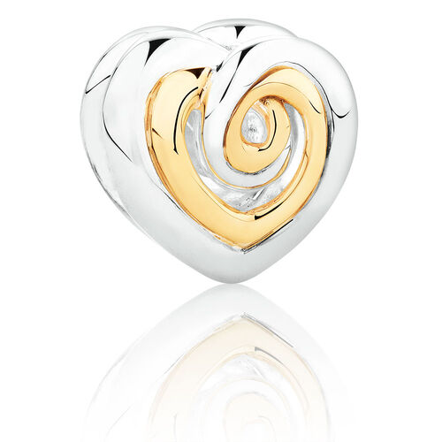 Swirl Heart Charm in Sterling Silver & 10ct Yellow Gold