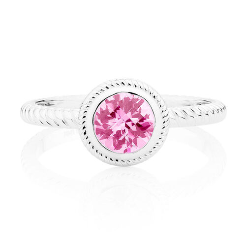 Patterned Pink Cubic Zirconia Stack Ring