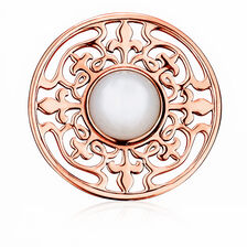 Coin Locket Insert with Mother of Pearl in 10ct Rose Gold