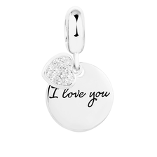 "Cubic Zirconia & Sterling Silver ""I Love You..."" Dangle Charm"