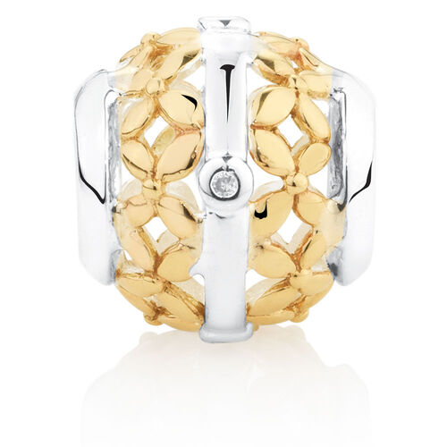 Diamond Set Filigree Charm in 10ct Yellow Gold & Sterling Silver