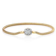 "17cm (7"") Charm Bracelet with 0.27 Carat TW of Diamonds in 10ct Yellow Gold"