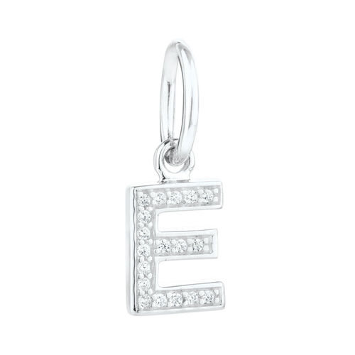 """""""E"""" Initial Mini Pendant with Cubic Zirconia in Sterling Silver"""