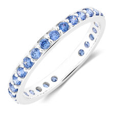 Blue Cubic Zirconia Stack Ring