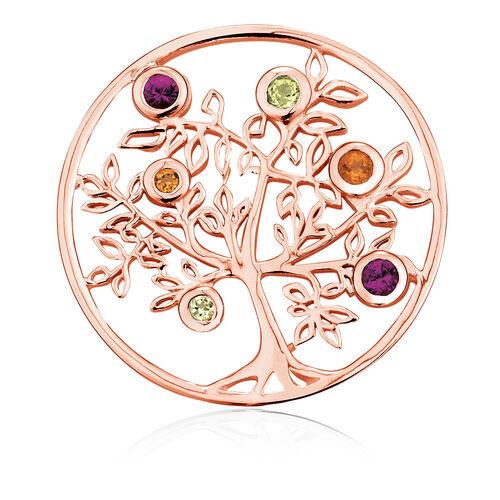 Citrine, Peridot, Rhodolite & 10ct Rose Gold Tree Coin Locket Insert