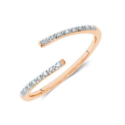 Diamond Set Spiral Ring in 10ct Rose Gold