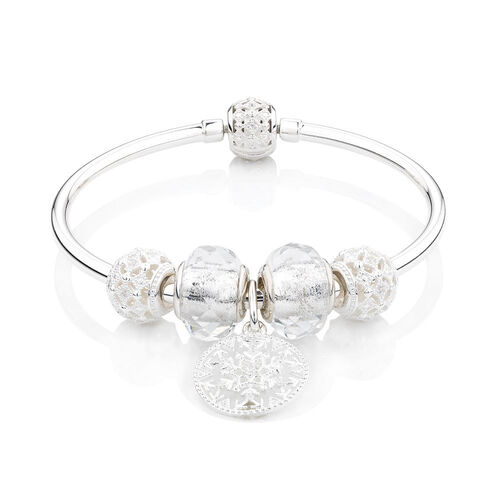Small Starter Charm Bangle with Cubic Zirconia & Glass in Sterling Silver