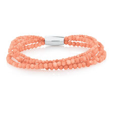 "19cm (7.5"") Wild Hearts Bracelet in Peach Pearl & Stainless Steel"