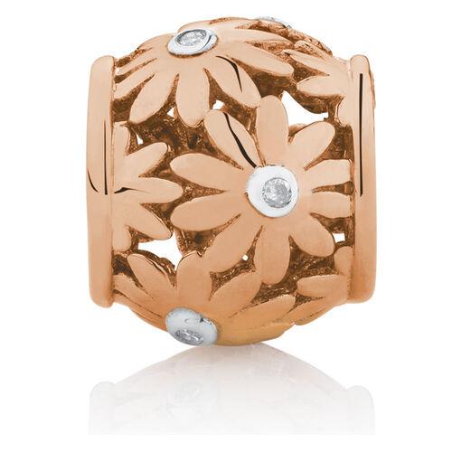 Diamond Set Daisy Charm in 10ct Rose Gold