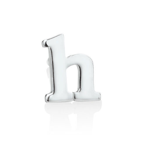"""H"" Initial Stud Earring in Sterling Silver"