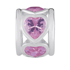 Pink Cubic Zirconia Hearts Charm