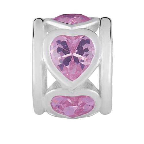 Pink Cubic Zirconia Hearts Charm