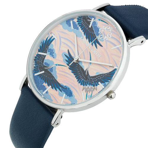Large Watch in Navy Leather & Stainless Steel