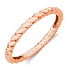 Twist Patterned Stacker Ring in 10ct Rose Gold