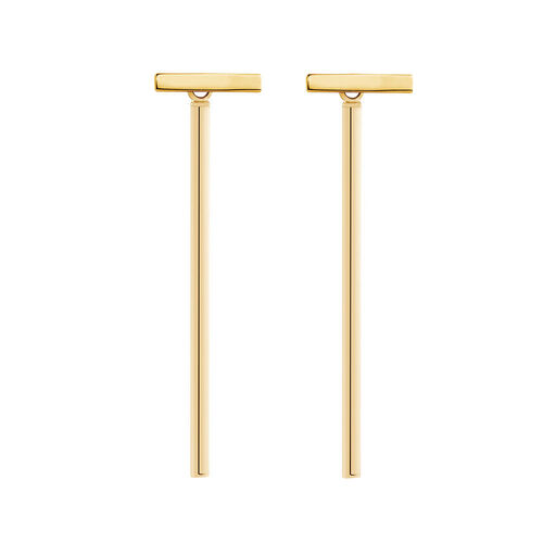 Stud and Bar Drop Earrings in 10ct Yellow Gold